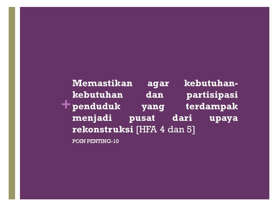 Memastikan agar kebutuhan-kebutuhan dan partisipasi penduduk yang terdampak menjadi pusat dari upaya rekonstruksi [HFA 4 dan 5]
